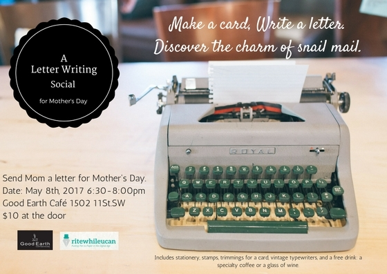 Letter Writing Social, Mother's Day, writing