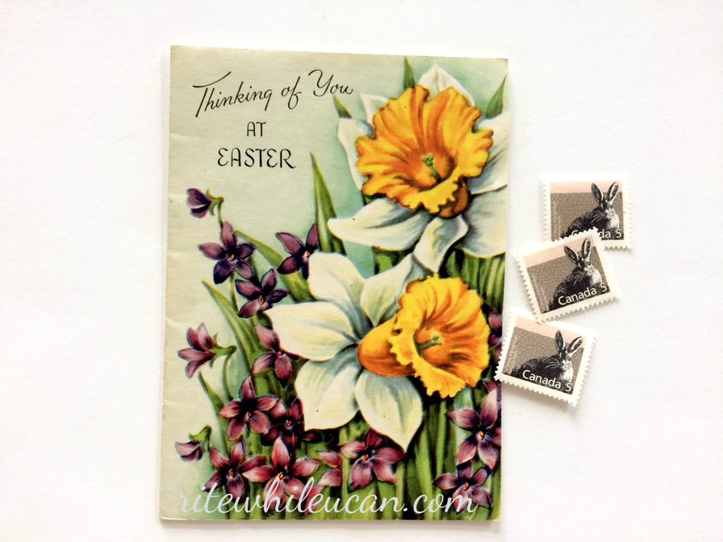 vintage Easter card, Easter, stamps, cards