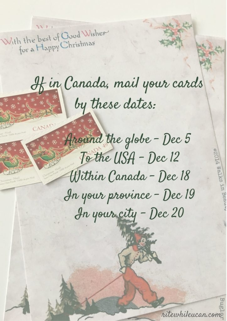 Christmas card mailing deadlines -